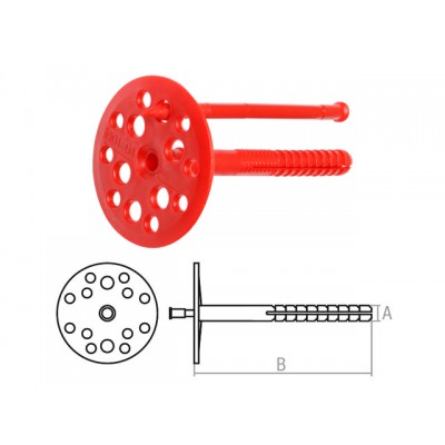 Дюбель для теплоизоляции 10х100 мм с пласт. гвоздем (100 шт в коробе) STARFIX